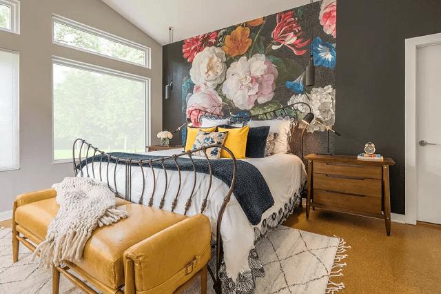 trang trí phòng ngủ bằng giấy dán tường 3