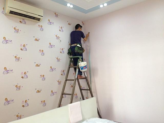 cách dán giấy tường