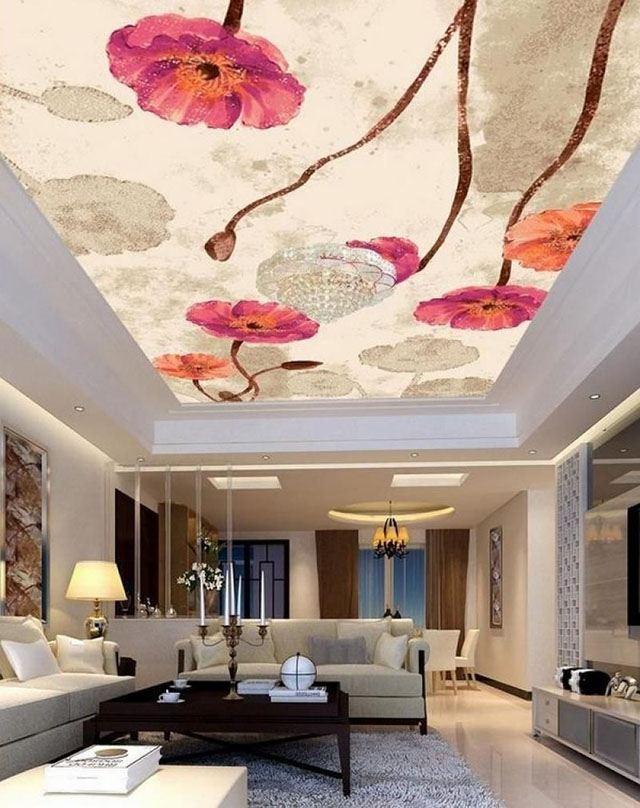 giấy dán trần nhà phòng khách