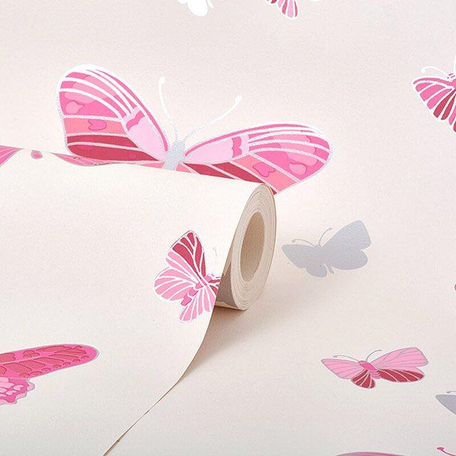 giấy dán tường màu hồng cánh bướm