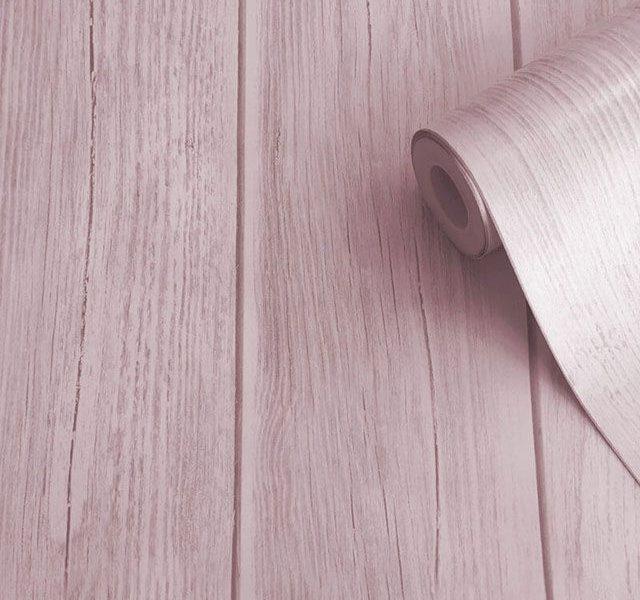 giấy dán tường màu hồng vân gỗ