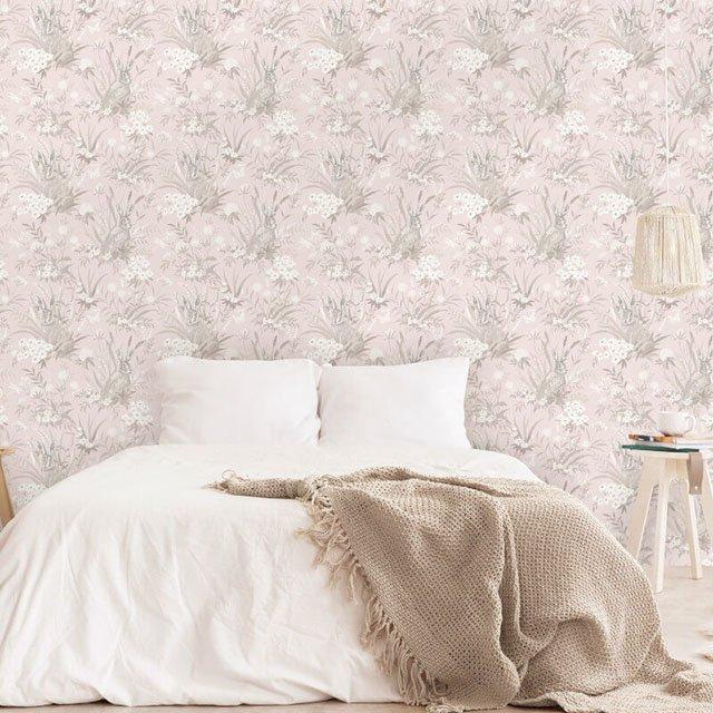 giấy dán tường cho phòng ngủ màu hồng