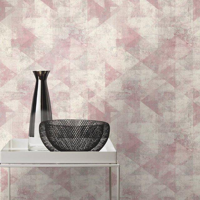 giấy dán tường phòng ngủ màu hồng hiện đại