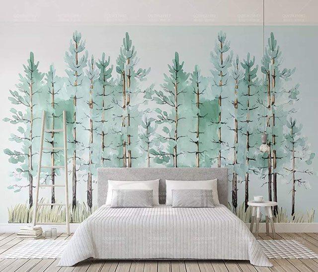 giấy dán tường xanh