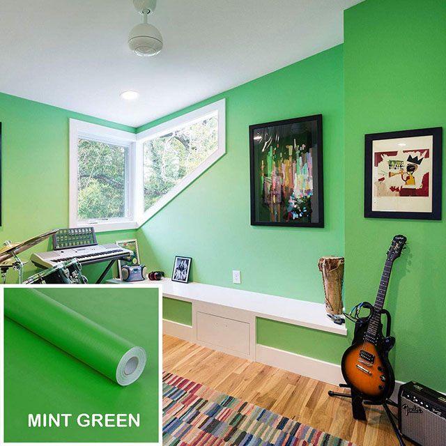 giấy dán tường màu xanh lá