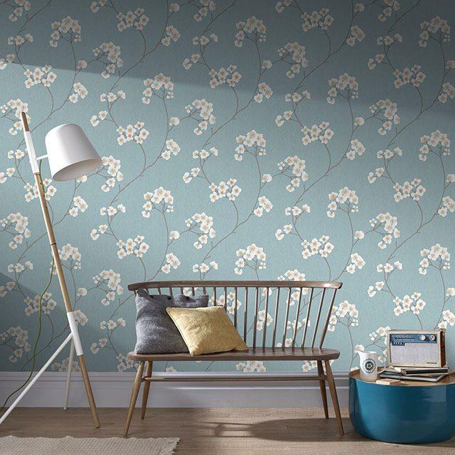 giấy dán tường màu xanh pastel