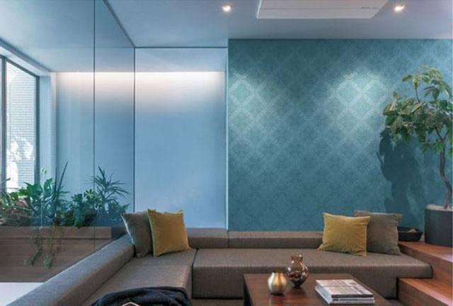 giấy dán tường màu xanh biếc