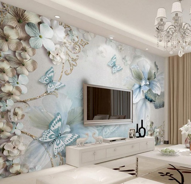 giấy dán tường phòng khách 3D