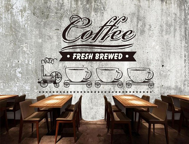mẫu giấy dán tường trang trí quán cà phê