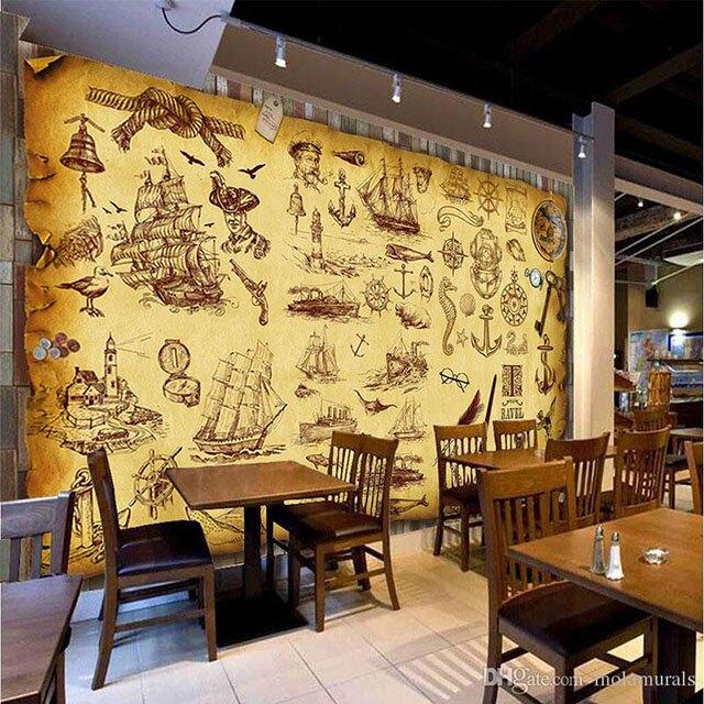 giấy dán tường quán cà phê 8