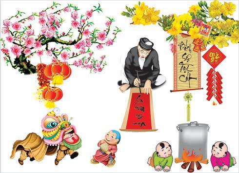 Decal các hoạt động trong ngày tết truyền thống