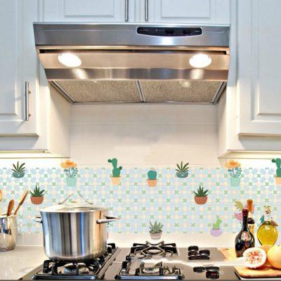 Decal trang trí bếp hình chậu cây giúp căn bếp thêm sinh động