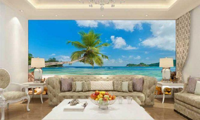Decal phong cảnh biển cho phòng khách
