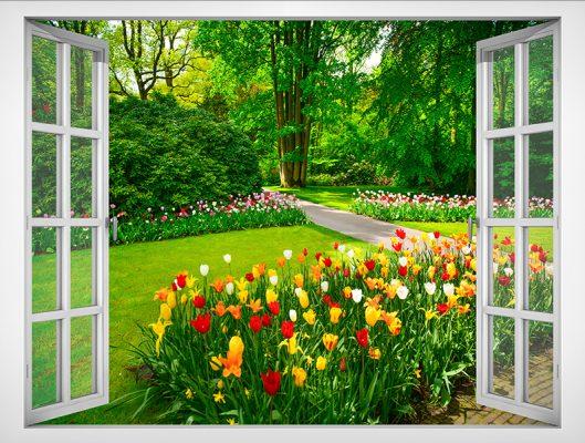 Decal vườn hoa trang trí phòng khách